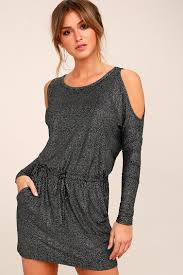cold shoulder dress chaser glitter jersey dress metallic cold shoulder dress