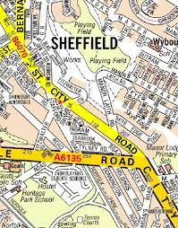 map az sheffield a z wall map