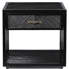 Black Wood Nightstand Chevron Black Wood Rattan Nightstand