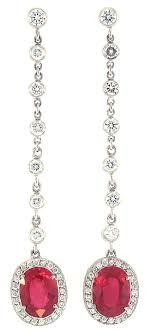 ruby drop earrings burma oval ruby diamond drop earrings jewelry and