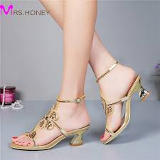 2 inch heel wedding shoes kitten heel gold rhinestone wedding sandals slingback comfortable