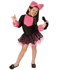 girls cute cat fancy dress costume kids animal black pink cat
