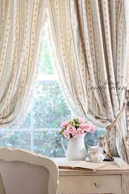White Ruffled Curtains by Shabby Chic Blue Curtains With Rose Pattern Combined White Ruffle