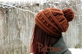 crochet pattern slouchy hat womens beanie pom pom winter puff