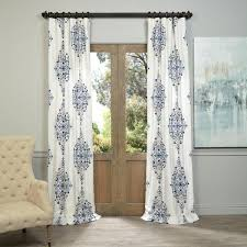 White Curtains With Blue Pattern Exclusive Fabrics Kerala Blue Printed Cotton Twill Curtain Panel
