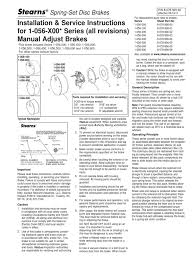 90560 stearns 1056x00 series all revisions manual adjust brakes