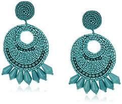 hoop beaded earrings kenneth faux turquoise seed bead