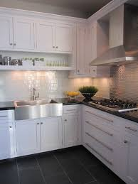 kitchens white cabinets steel gray granite carrara marble back