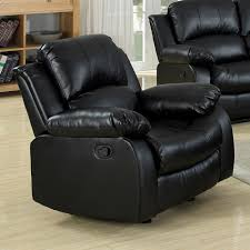 Black Leather Recliner Kaden Leather Recliner Chair Pillow Top Arms Black Dcg Stores