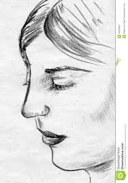 drawing a face looking down woman face pencil sketch stock