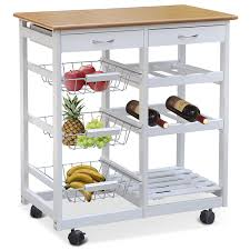 smallwise trading white kitchen trolley dining cart with wheels
