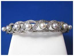 pearl bangle bracelet images Cultured pearl diamond bangle bracelet 18k red tag sale item jpg