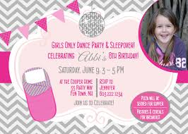 sleepover dance birthday party invitation slumber party