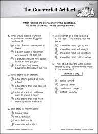 8th grade reading comprehension worksheets pdf fts e info