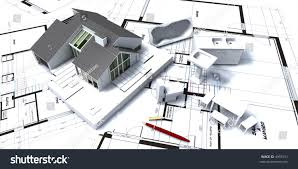 residential blueprints 3d rendering residential house on blueprints stock illustration