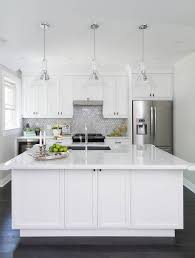 Arabesque Backsplash Tile by White Kitchen With Marble Arabesque Tile Backsplash Transitional