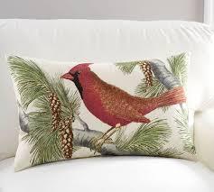 winter fauna cardinal lumbar pillow cover pottery barn
