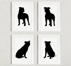 pitbull set of 4 dog home decor pit bull silhouette ink
