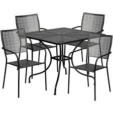 Patio Table With Chairs Square Black Indoor Outdoor Steel Patio Table Set With 4 Square
