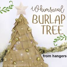 how to make a small burlap tree using hangers