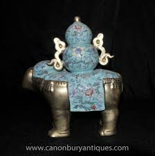 porcelain elephant pair chinese porcelain elephant statues floral famille rose