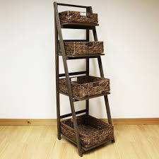 dark brown 4 tier wooden ladder shelf display unit u0026 wicker