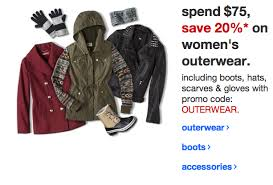 target spend 75 save 20 on s outwear promotion includes