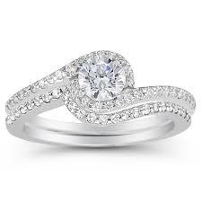 swirl engagement rings 0 95 carat diamond swirl engagement set