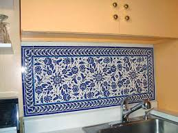 kitchen backsplash blue photo of blue and white floral sink backsplash