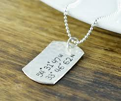personalized mens necklaces sterling silver dog tag necklace coordinate necklace gps