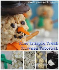 Marshmallow Rice Krispie Treat Snowmen Recipe Kids Food Craft