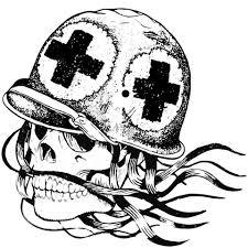 skull in combat medic helmet coloring page free printable