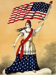 vintage 4th of july clip art lady liberty with flag the