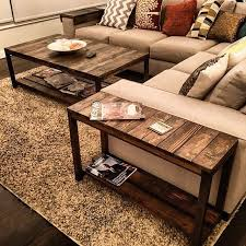 nice little trifecta table set custom made to fit this couch