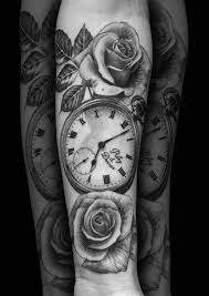100 rose and pocket watch tattoo roses and clock tattoo