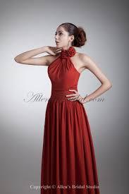 allens bridal chiffon high collar neckline floor length a line