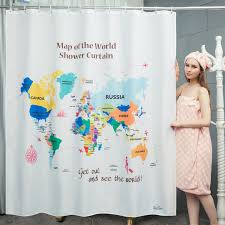 World Map Curtains by Enaezen The World Map Fabric Shower Curtains Enaezen Shower Curtains