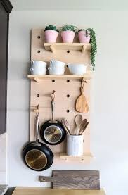 kitchen pegboard ideas oversized pegboard shelves