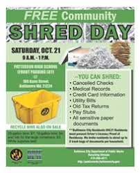 where to shred papers for free free community shred day baltimore city department of works