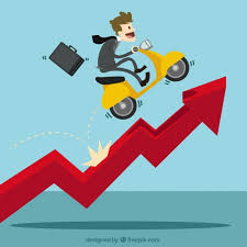 growing chart businessman with a scooter over growing chart vector free download