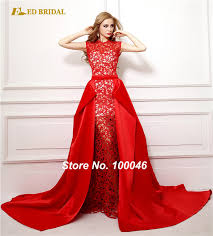 prom dresses 2015 new arrival real picture red lace detachable