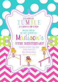 Invitation Birthday Party Card Gymnastics Birthday Party Invitations Printable Or By Noteablechic