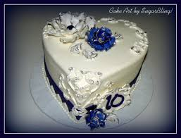 How To Decorate Heart Shaped Cake This Is Amazing Blue And Silver Anniversary This Is A 9