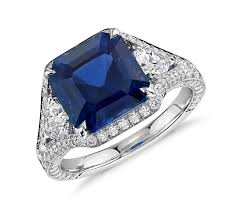 sapphire emerald cut engagement rings emerald cut sapphire and halo ring in 18k white gold 5 10
