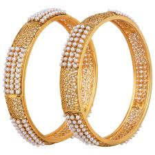 bangle bracelet sets images Gold plated pearl bangle set 2 6 for women girls indian jewelry jpg