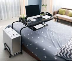 rolling table over bed home rolling adjustable computer desk table over bed laptop storage