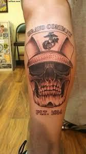 amazing army skull with cap on leg golfian com