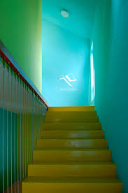 apartments colorful staircase interior with yellow blue and green
