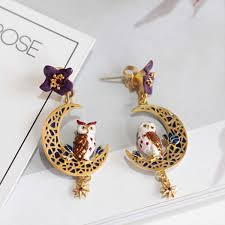 owl earrings enamel owl earrings apollobox