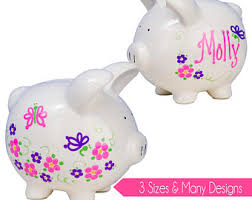 customized piggy bank college fund piggy bank painted personalized